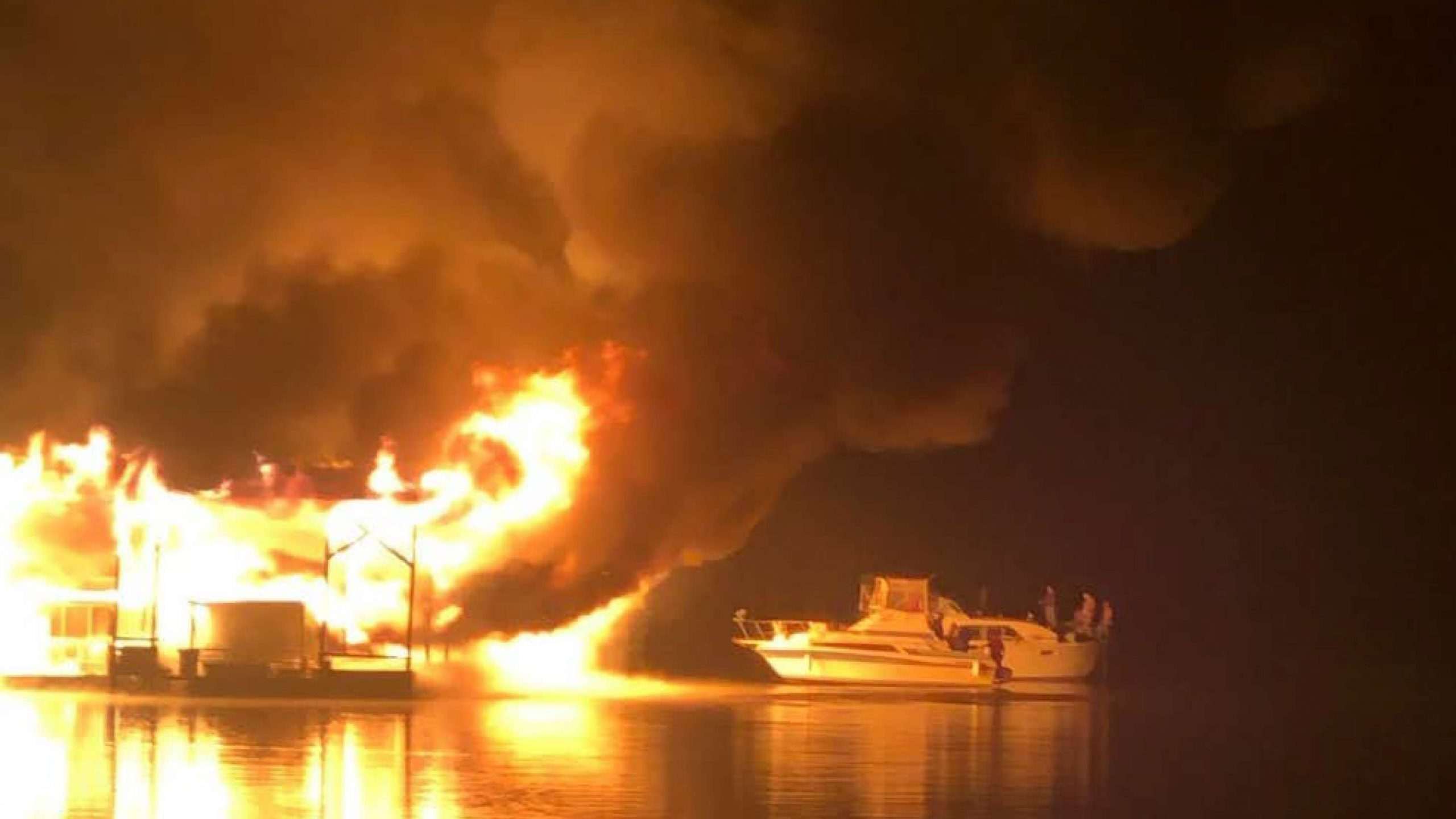 Fire consumes the marina at Jackson Pond